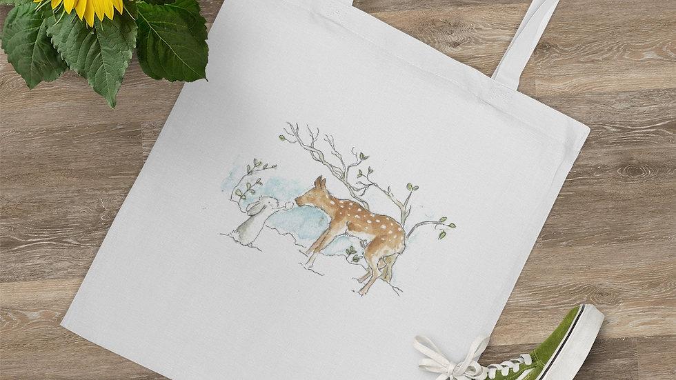 Rabbit & Fawn Watercolor Original Design Tote Bag