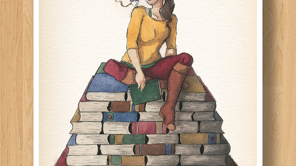 Cute Girl on a Book's Hill Original Design Print