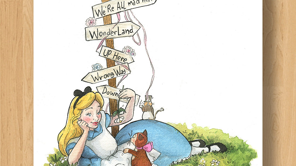 Disney Cute Alice in Wonderland Original Design Print