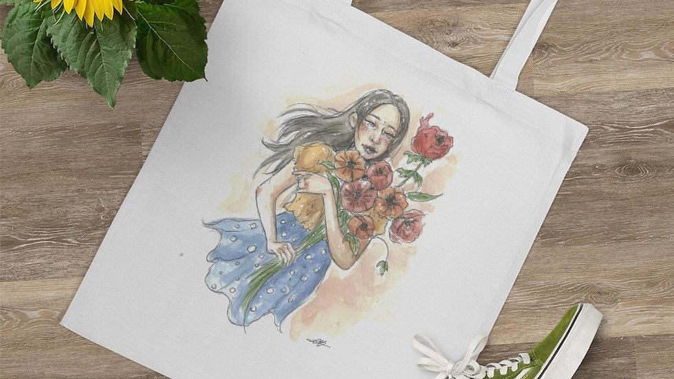 Girl with Flowers Watercolor Original Design Tote Bag