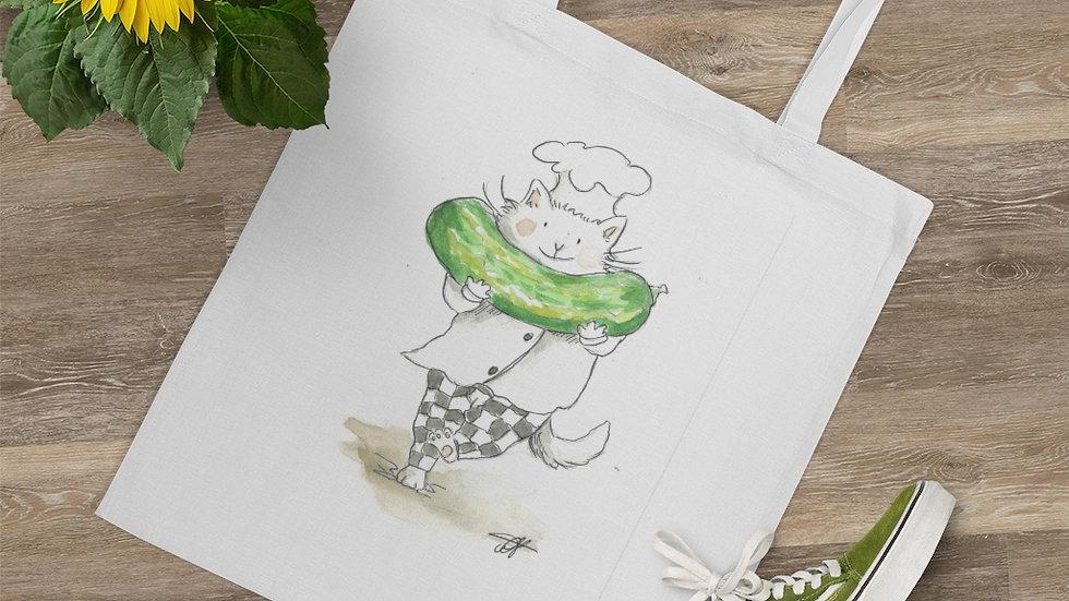 Cat with Watermelon Watercolor Original Design Tote Bag