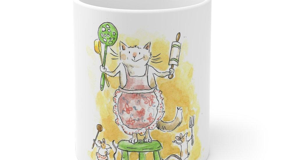 Cat vs Mice Watercolor Original Design Ceramic Mug (EU)