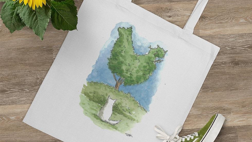 Cat & Chicken Tree Watercolor Original Design Tote Bag