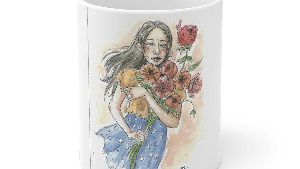 Girl with Flowers Watercolor Original Design Ceramic Mug (EU)
