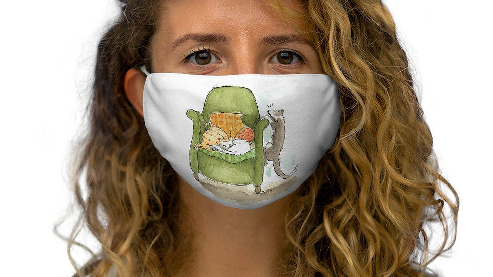 Cats and Armchair Watercolor Original Design Snug-Fit Polyester Face Mask