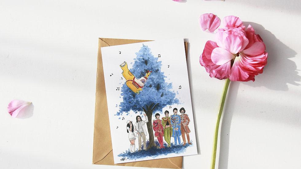 The Beatles Yellow Submarine Tree Watercolor Original Design Greetings Card