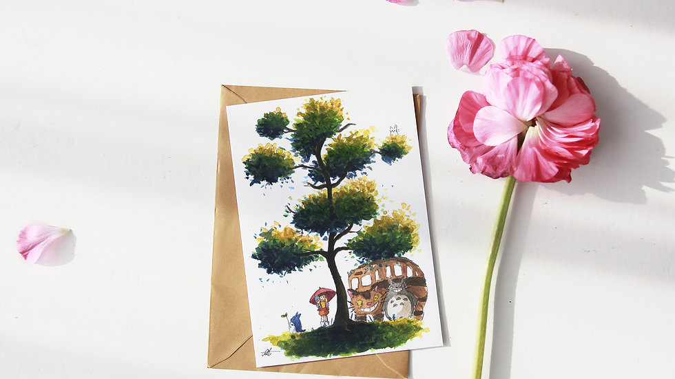 Studio Ghibli Totoro with Catbus Tree Watercolor Original Design