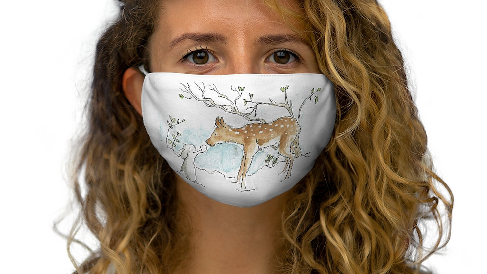 Rabbit & Fawn Watercolor Original Design Snug-Fit Polyester Face Mask
