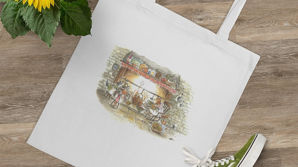 Cats at the Chimney Watercolor Original Design Tote Bag