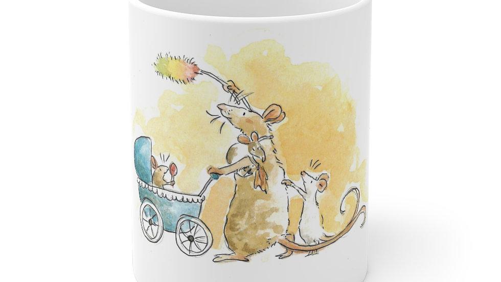 Baby Mice with Mom Watercolor Original Design Ceramic Mug (EU)