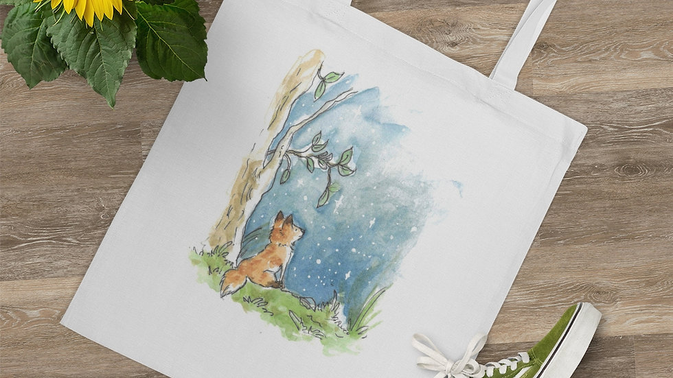 The Fox and the Stars Watercolor Original Design Tote Bag