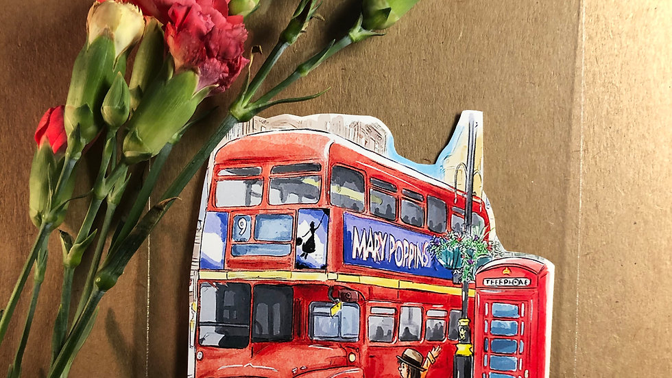 Cute London Bus Original Design Handmade Sticker