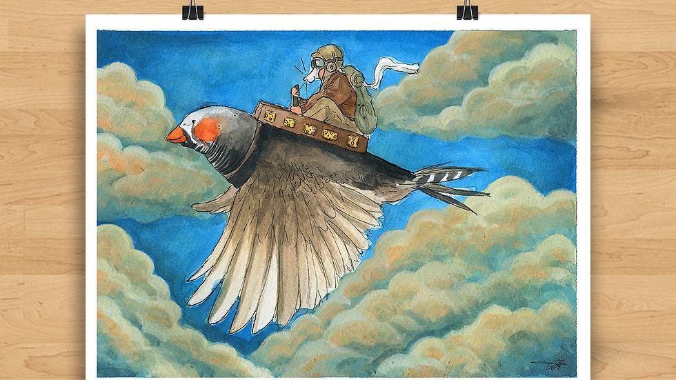 Bird on Board Original Design Print