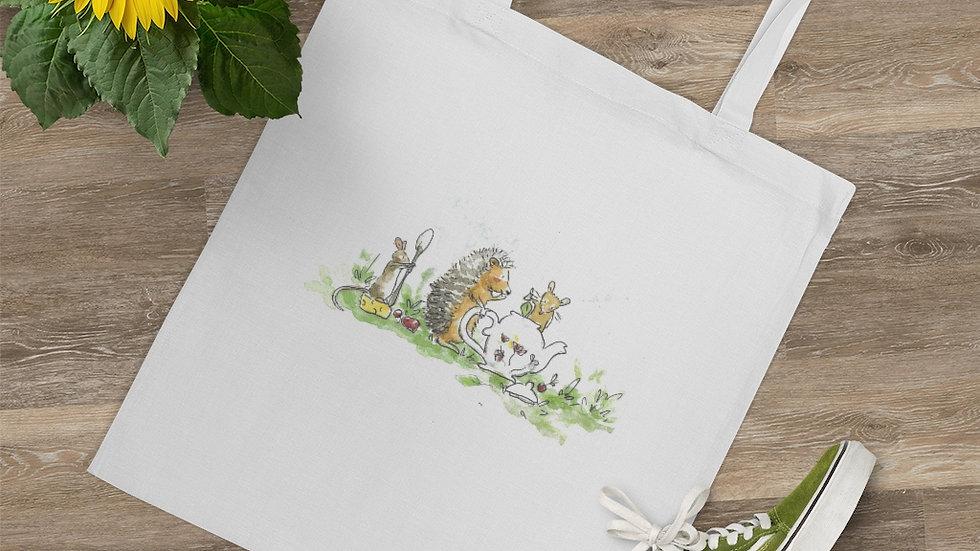 Hedgehog & Mice Watercolor Original Design Tote Bag