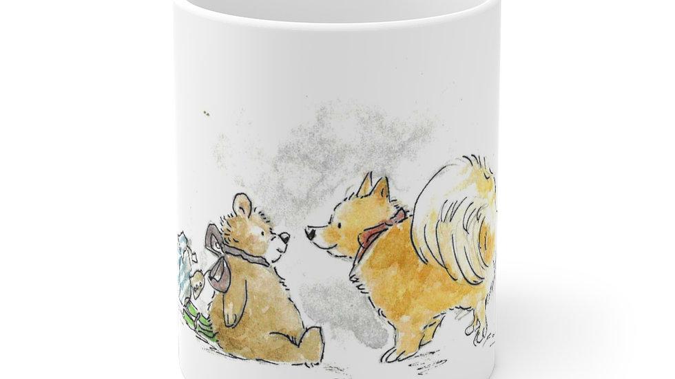 Pomeranian & Teddy Bear Watercolor Original Design Ceramic Mug (EU)