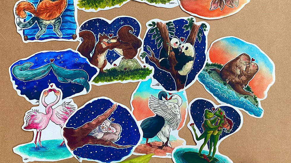 Animals in Love Valentines Gift 12 Stickers Bundle