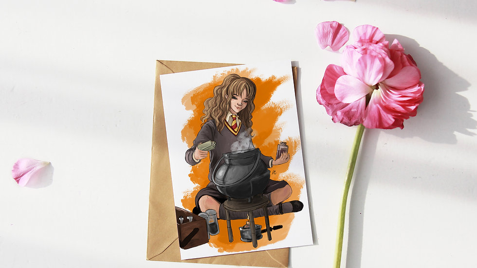 Hermione Granger Hogwarts Digital Watercolor Design Greetings Card
