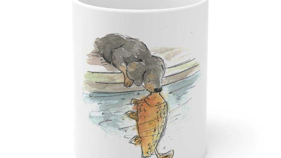 Dachshund & Carp Watercolor Original Design Ceramic Mug (EU)