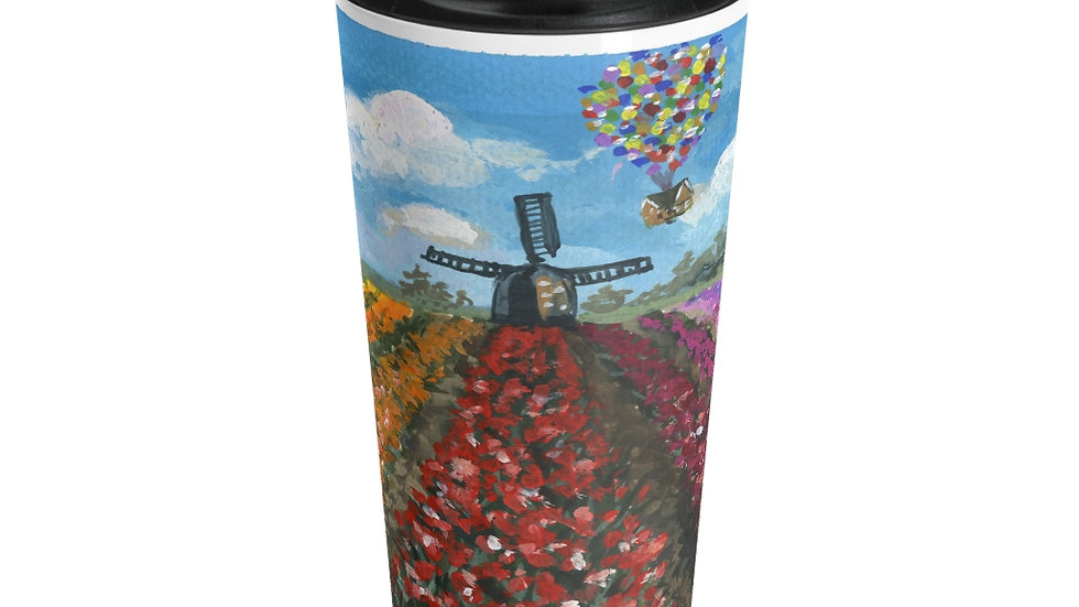 Tulip Field with Up Flying House Original Design Stainless Steel Travel Mug