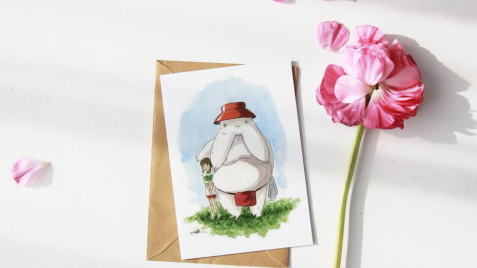 Studio Ghibli Chihiro & Raddish Man Watercolor Original Design Greetings Card