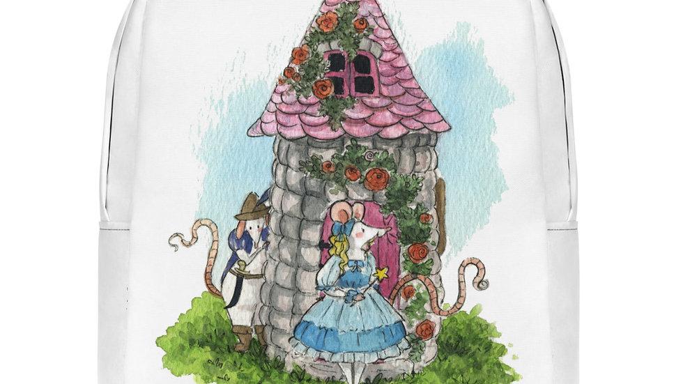 Little Mouse at the Castle Watercolor Original Design Minimalist Backpack