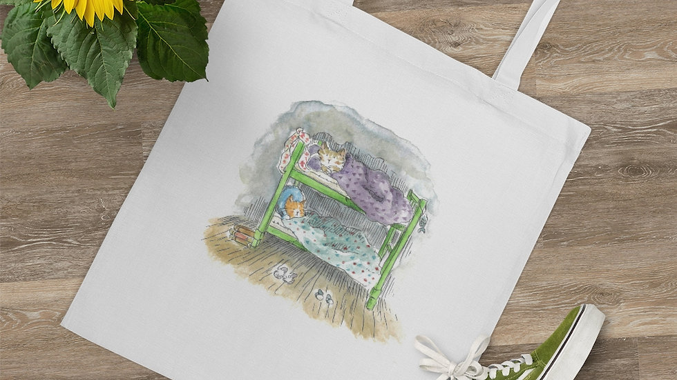 Cats on the Bunk Bed Watercolor Original Design Tote Bag