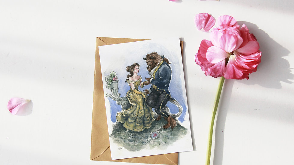 Disney Beauty and the Beast Watercolor Original Design Greetings Card