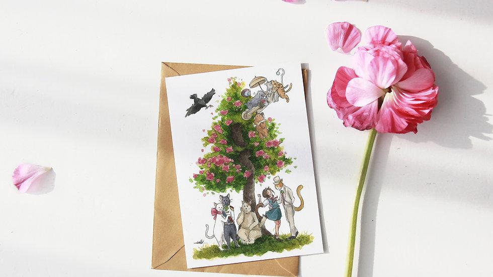 Studio Ghibli The Cat's Return Tree Watercolor Original Design Greetings Card