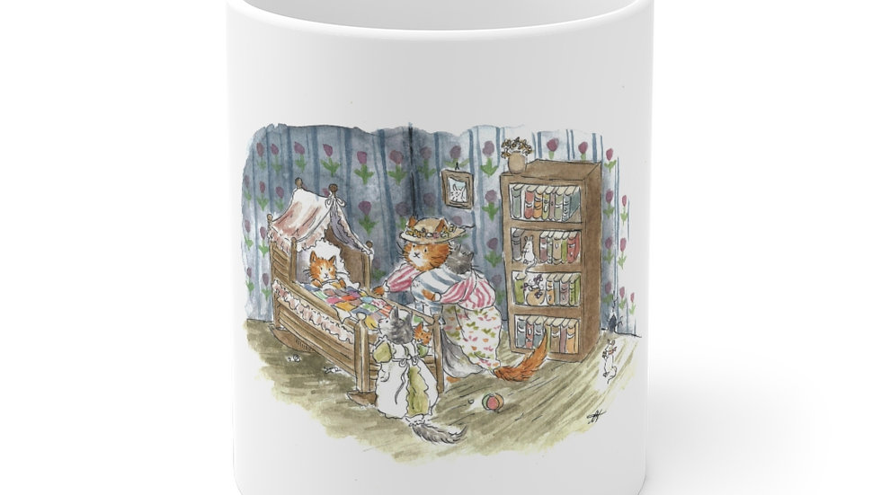 Baby Cat Sleeping Watercolor Original Design Ceramic Mug (EU)