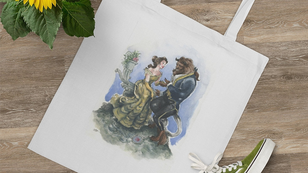Disney Beauty and the Beast Watercolor Original Design Tote Bag
