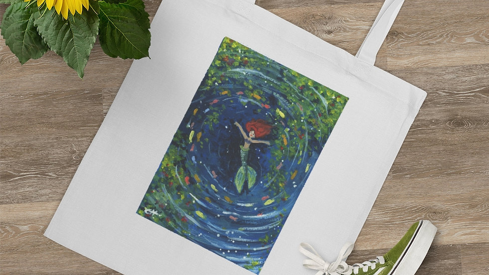 Little Mermaid Swimming in the Lagoon Gouache Original Design Tote Bag
