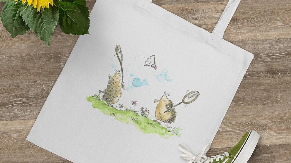 Hedgehogs Playing Badminton Watercolor Original Design Tote Bag