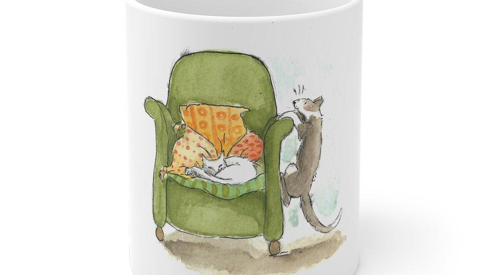 Cats and Armchair Watercolor Original Design Ceramic Mug (EU)