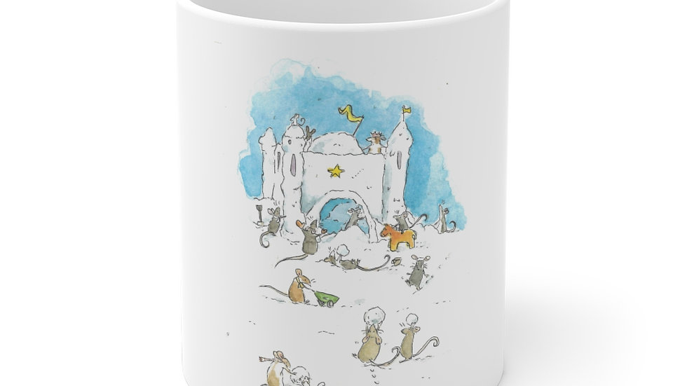 Mice at the Snow Castle Watercolor Original Design Ceramic Mug (EU)