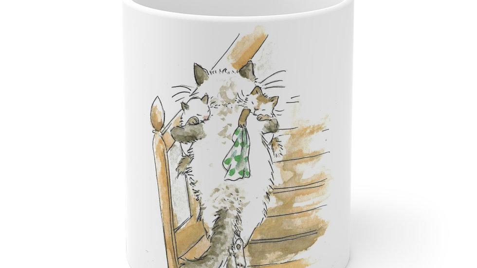 Mom with Sleeping Kittens Watercolor Original Design Ceramic Mug (EU)