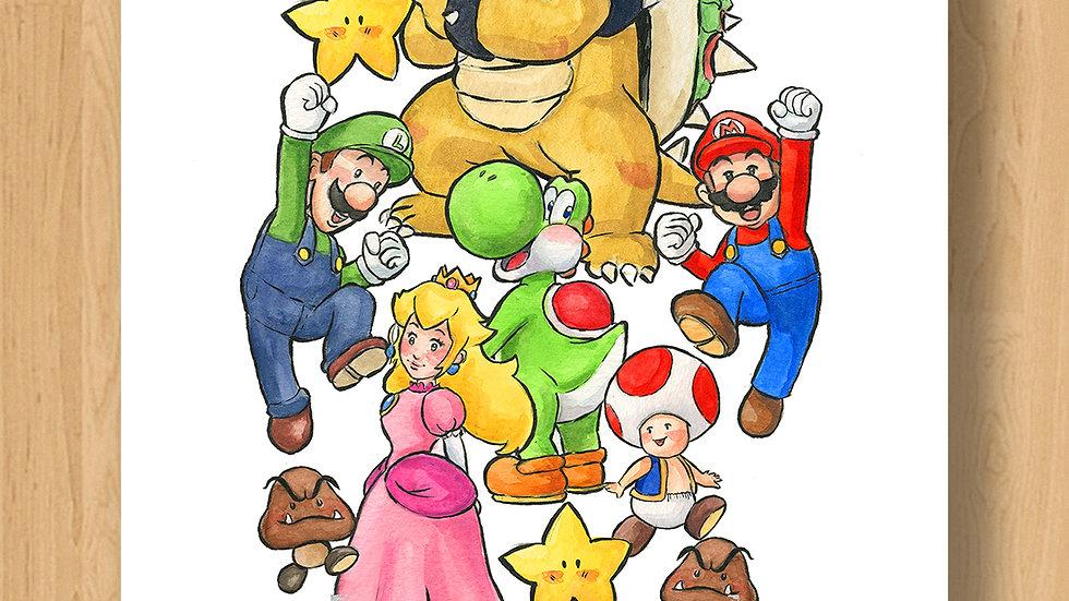 Super Mario Bros Original Design Print