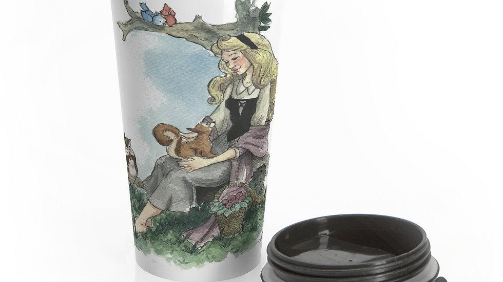 Disney Princess Aurora Watercolor Original Design Stainless Steel Travel Mug
