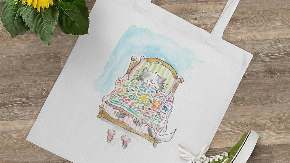 Dreaming Cat Watercolor Original Design Tote Bag