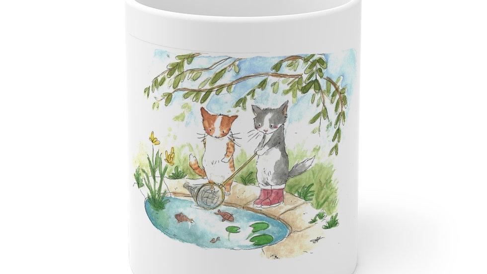 Fishing Cats at the Pond Watercolor Original Design Ceramic Mug (EU)
