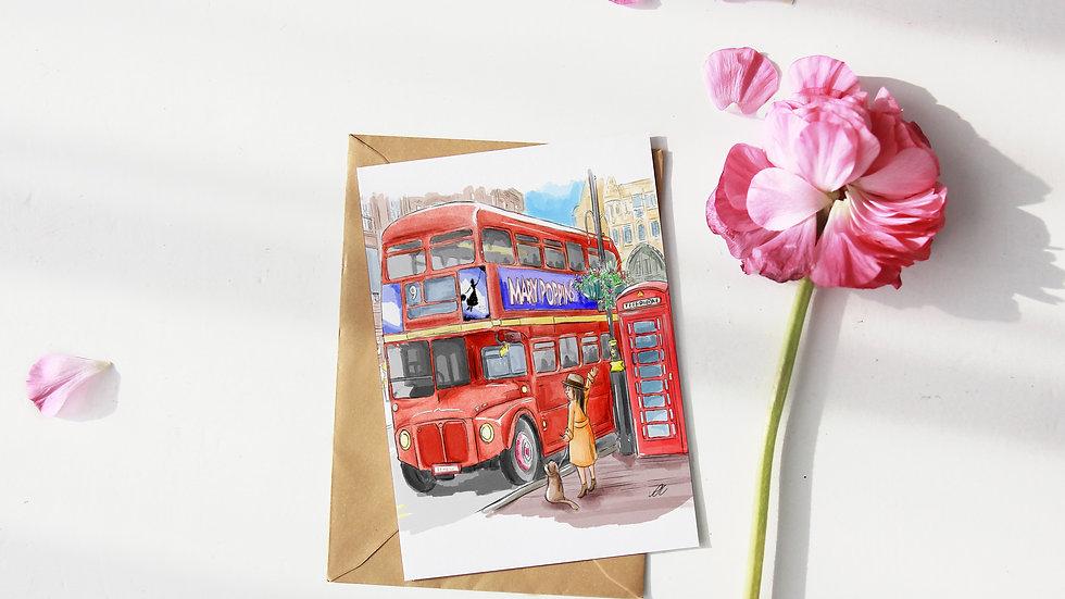 Cute London Bus Watercolor Original Design Greetings Card Handmade