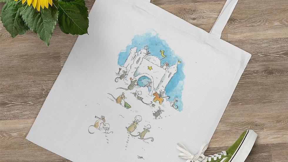 Mice at the Snow Castle Watercolor Original Design Tote Bag