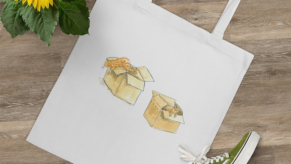 Kittens in the Box Watercolor Original Design Tote Bag