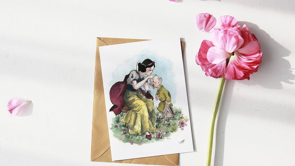Disney Princess Snow White Watercolor Original Design Greetings Card