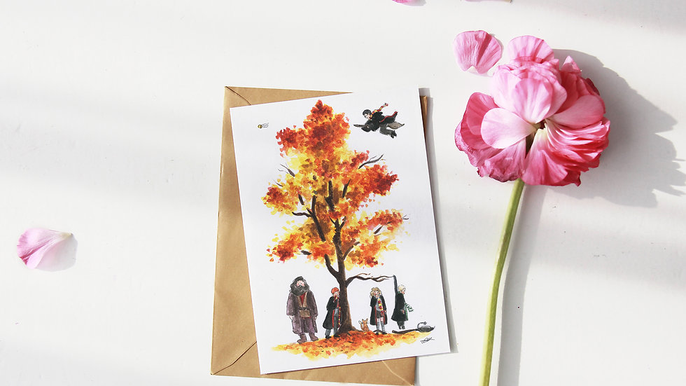 Harry Potter Tree Watercolor Original Design Greetings Card