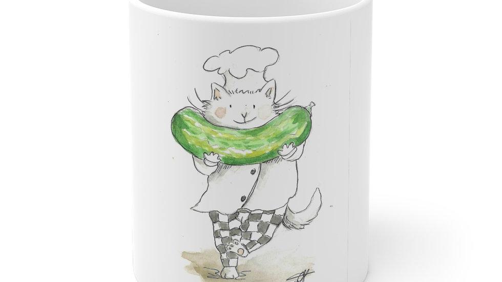 Cat with Pickle watercolor Original Design Ceramic Mug (EU)