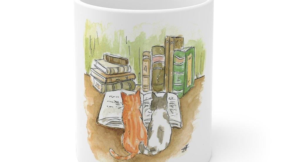 Studying Kittens Watercolor Original Design Ceramic Mug (EU)