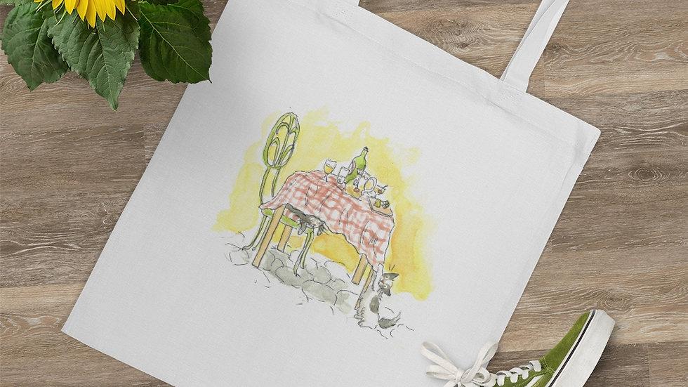 Hungry Kitten Watercolor Original Design Tote Bag