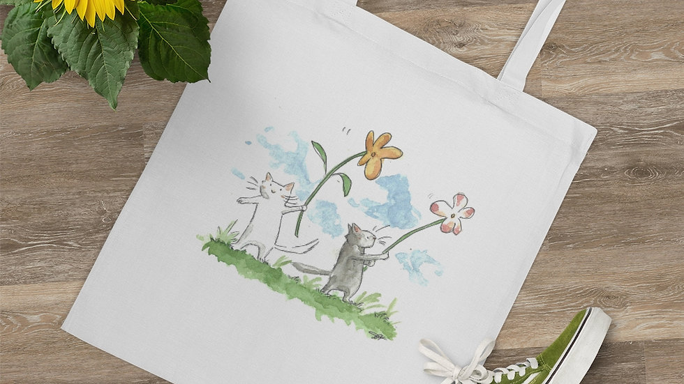 Cats with Waving Flowers Watercolor Original Design Tote Bag