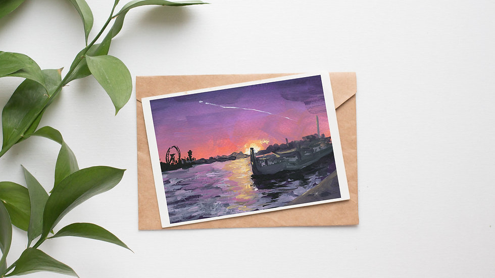 Sunset in London Gouaches Original Painting Greetings Card