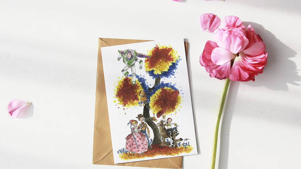 Disney Toy Story Watercolor Original Design Greetings Card